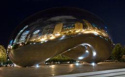 Chicago bean. A night shot of the Chicago bean Royalty Free Stock Photography