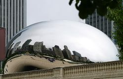 Chicago Bean. Chicago's sculpture known as the bean reflections the city's skyline Royalty Free Stock Photo