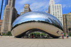 Chicago Bean Cloud Gate in Millennium Park Stock Image