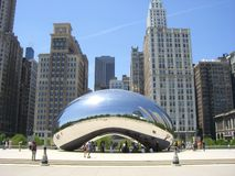 Chicago Bean. Famous Sculpture in Downtown Chicago Royalty Free Stock Images