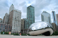 Chicago Bean Millennium Park. Chicago Bean at Millennium Park on a cloudy day Royalty Free Stock Image