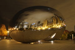Chicago bean at night. Image of the famous Chicago Bean at night in Millennium Park Stock Photos