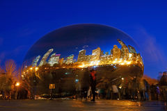 The Chicago Bean at Night, USA Stock Image
