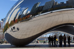 Chicago bean reflection. Chicago, Illinois, USA - 2011: Chicago Cloud Gate sculpture. Cloud Gate is also known as The Bean because of its shape and is a very Stock Image