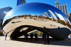 The Chicago Bean, USA. City skyline reflections in the stainless steel Cloud Gate public sculpture in Millennium Park, Chicago, Illinois, USA. The sculpture is royalty free stock photography