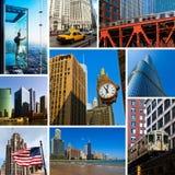 Chicago beskådar collage Arkivbild
