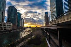 Chicago in bianco e nero sul porto fotografie stock