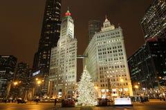 Chicago bij Kerstmis royalty-vrije stock afbeelding