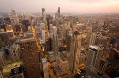 Chicago bij nacht Stock Foto