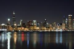 Chicago bij nacht Stock Fotografie