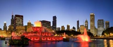 Chicago bij nacht stock afbeeldingen
