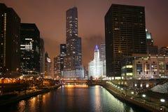 Chicago bij nacht Royalty-vrije Stock Fotografie
