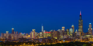 Chicago bij nacht Royalty-vrije Stock Foto