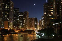 Chicago bij nacht 3 Royalty-vrije Stock Foto