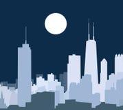 Chicago bij Nachtvector Stock Illustratie