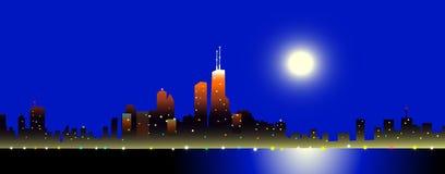 Chicago bij Nachtvector Royalty-vrije Illustratie