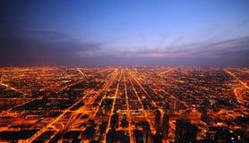 Chicago bij Zonsondergang Royalty-vrije Stock Foto's