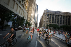Chicago bike ride - Critical Mass Stock Photography
