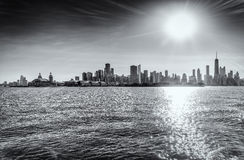 Chicago in Black and White. General View of Chicago Skyscrapers from Lake Michigan Stock Image