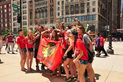 Chicago Blackhawks Celebration. Street portrait of Chicagoans celebrating the victory of Blackhawks stock photography