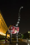 Chicago Blackhawks Dinosaur. Image of the brontosaurus dinosaur in front to the Field museum wearing a Blackhawks hockey jersey. Photo taken in Chicago, at night stock photos