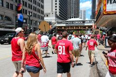 Chicago Blackhawks fans. CHICAGO - JUNE 28: Blackhawks fans celebrate Stanley's Cup win on June 28, 2013 in Chicago. 2 million people celebrated the trophy in royalty free stock photography