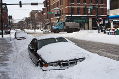 Chicago Blizzard. Car buried in snow by third worst blizzard on record in Chicago Royalty Free Stock Photos