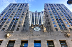 Chicago Board of Trade Building. Chicago - September 7, 2015: Chicago Board of Trade Building along La Salle street in Chicago, Illinois. The art deco building Royalty Free Stock Photography