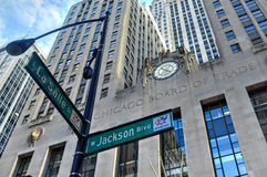 Chicago Board of Trade Building. Chicago - September 7, 2015: Chicago Board of Trade Building along La Salle street in Chicago, Illinois. The art deco building Stock Photography