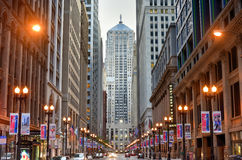Chicago Board of Trade Building. Chicago - September 7, 2015: Chicago Board of Trade Building along La Salle street in Chicago, Illinois. The art deco building Stock Photo