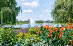 Chicago Botanic Garden. The fountain in the Chicago Botanic Garden royalty free stock photo
