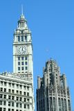Chicago building. Wrigley building and Tribune Tower in downtown Chicago Royalty Free Stock Photography