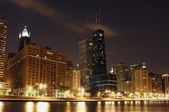 Chicago building downtown loop. Lake Shore North Ave Beach night stock photography