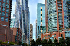 Chicago building's color, around Chicago River. Chicago colorful city buildings and constructions beside Chicago River. Photo taken in October 6th, 2014 Royalty Free Stock Images