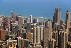 Chicago Buildings. View of Chicago buildings and Lake Michigan from the Sears Tower stock image
