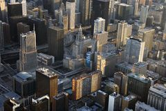 Chicago buildings. Aerial view of buildings in downtown Chicago, Illinois Stock Images