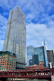 Chicago buildings and bridge of Chicago river Royalty Free Stock Photography