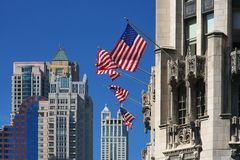 Chicago buildings and flags Royalty Free Stock Photos