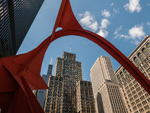 Chicago buildings framed by Calder's Flamingo Stock Photos