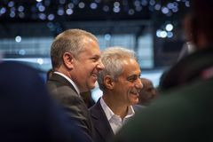 Chicago Burgemeester Rahm Emanuel stock foto's