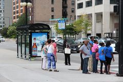 Chicago bus stop Stock Photo