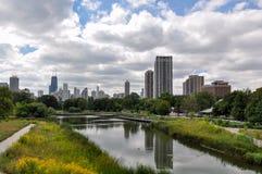 Chicago byggnader från Lincoln Park, Chicago, Illinois, USA Royaltyfri Bild