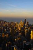 Chicago céntrica durante puesta del sol Foto de archivo libre de regalías