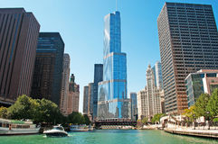 Chicago: canal cruise on Chicago River, skyline and Trump tower on September 22, 2014. Chicago, Illinois, united States of America, Usa Royalty Free Stock Photo