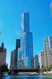 Chicago: canal cruise on Chicago River, skyline and Trump tower on September 22, 2014 Royalty Free Stock Photos