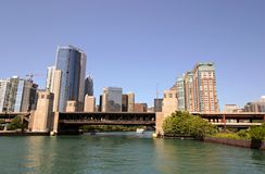 Chicago and Chicago River. Chicago, Illinois - near the mouth of the Chicago River royalty free stock image