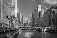 Chicago  and Chicago River Stock Image