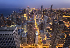 Chicago City from  Above at Night Stock Photo