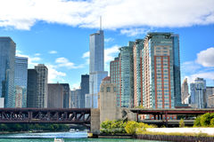 Chicago city around Chicago River. View of city buildings and bridge on Chicago river, Chicago, Illinois, United States.nPhoto taken in October 6th, 2014 Royalty Free Stock Image