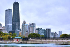 Chicago city buildings by Michigan Lake Royalty Free Stock Image